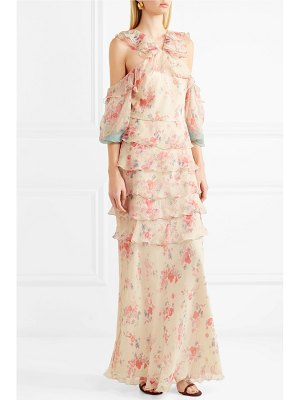 VILSHENKO alisanna cold-shoulder printed crinkled silk-chiffon gown