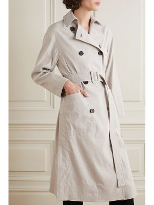 Vince belted linen-blend trench coat