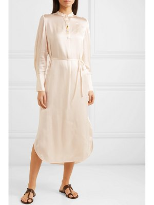 Vince belted silk-satin midi dress