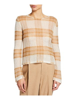 Vince Brushed Alpaca Plaid Sweater