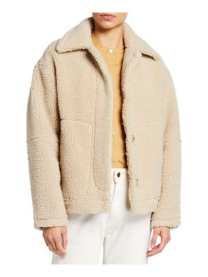 Vince Button-Front Sherpa Jacket