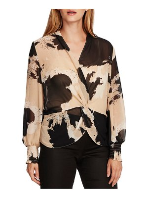 Vince Camuto abstract cowhide print twist front blouse