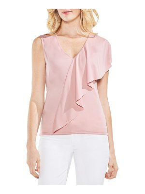 VINCE CAMUTO Asymmetrical Ruffle V-Neck Top