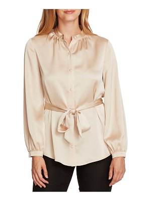Vince Camuto belted satin charmeuse blouse