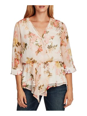 Vince Camuto cinch waist asymmetrical floral top