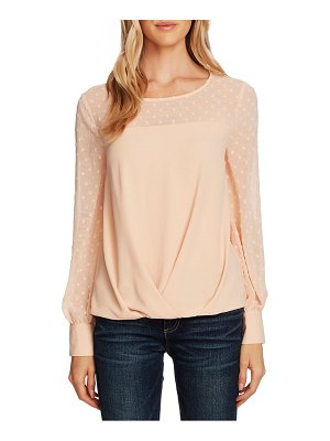 Vince Camuto clip dot detail long sleeve blouse