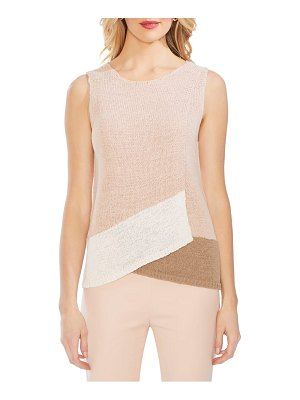 Vince Camuto colorblock crossover detail sleeveless cotton blend sweater