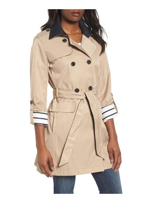 VINCE CAMUTO Contrast Collar Trench Coat
