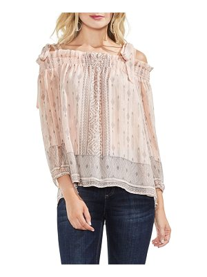 VINCE CAMUTO Delicate Diamond Geo Cold Shoulder Top