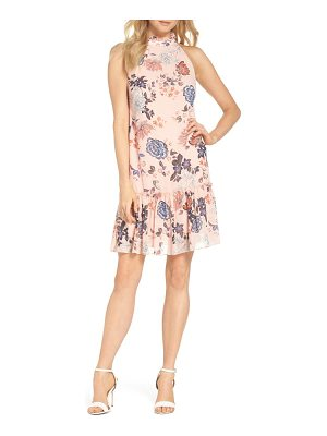Vince Camuto floral ruffle neck chiffon shift dress