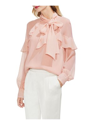 Vince Camuto ruffle front metallic stripe blouse