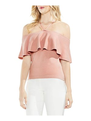 VINCE CAMUTO Ruffle Off The Shoulder Halter Sweater
