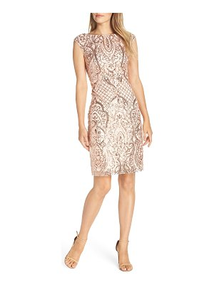 Vince Camuto sequin bateau neck cocktail sheath