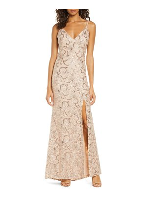 Vince Camuto sequin floral a-line gown