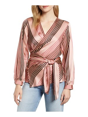 Vince Camuto stripe soiree satin wrap top