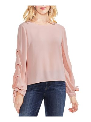 Vince Camuto tiered tie cuff crepe blouse
