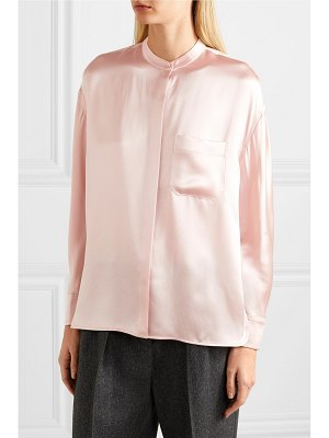 Vince collarless silk-satin blouse