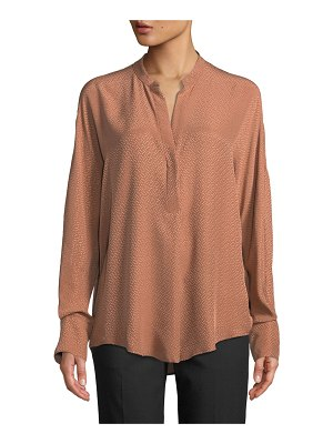 Vince Dot Jacquard Band-Collar Popover Blouse