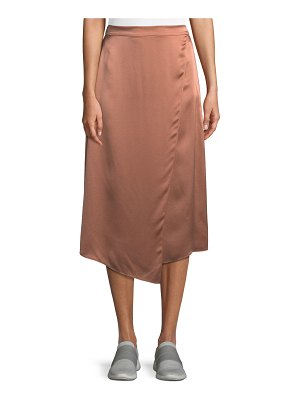 Vince Draped Panel Silk Midi Skirt