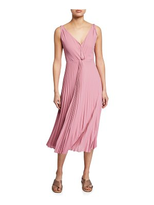 Vince Pleated Twist-Front Sleeveless Midi Dress