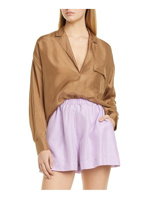 Vince pocket popover silk blouse