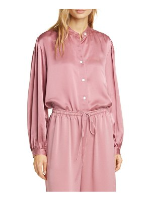 Vince shirred band collar silk blouse