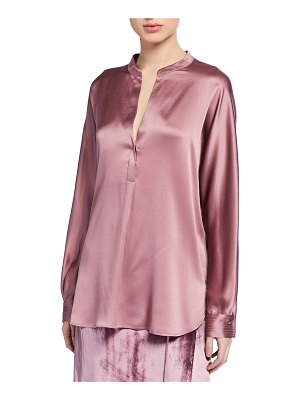 Vince Silk Satin Band Collar Blouse