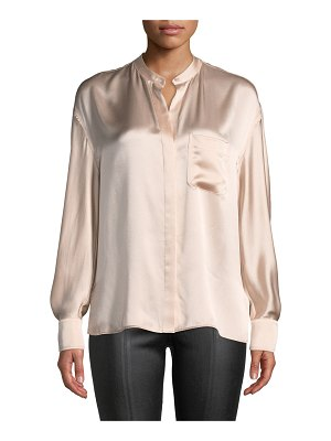 Vince Silk Single-Pocket Long-Sleeve Blouse