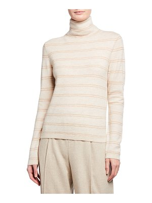 Vince Striped Fitted Cashmere Turtleneck Sweater