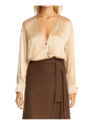 Vince v-neck ball button silk blouse