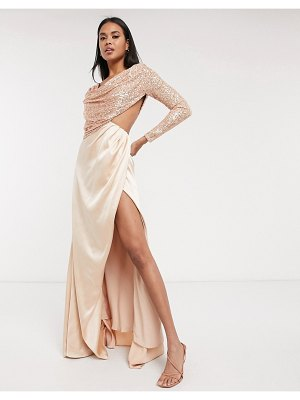 Virgos Lounge wrap skirt maxi dress with embellished draped bodice in rose gold