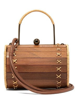 WAI WAI alix wood and rattan cross-body bag