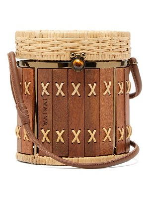 WAI WAI bongo rattan and wood bag