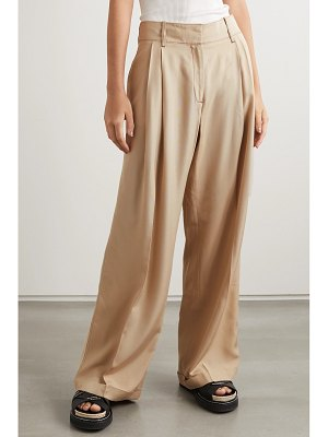 WALES BONNER pleated topstitched cady wide-leg pants