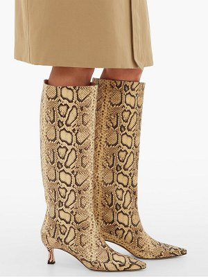 WANDLER bente python-embossed kitten-heel leather boots