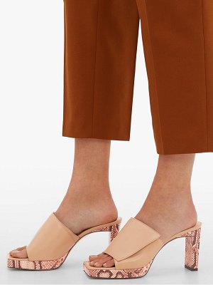 WANDLER isa square open-toe platform leather mules