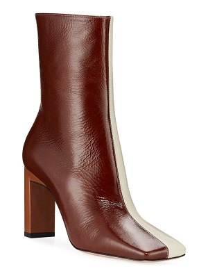 WANDLER Isa Two-Tone Lacquered Booties