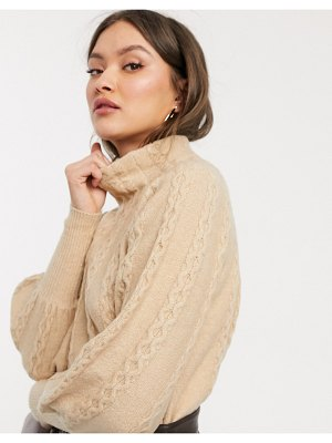 Warehouse cable sweater with high neck in camel-brown