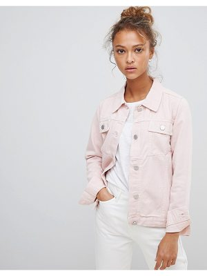 Waven Lana Pink Denim Jacket with Wolf Embroidery
