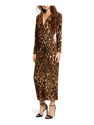 Wayf gwyneth velvet wrap midi dress