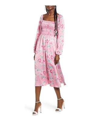 Wayf x influencing in color long sleeve smocked midi dress
