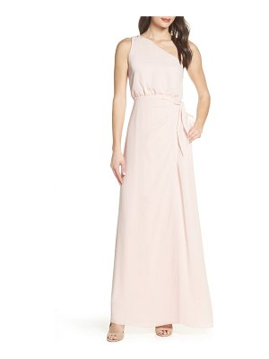 Wayf one-shoulder wrap front evening dress