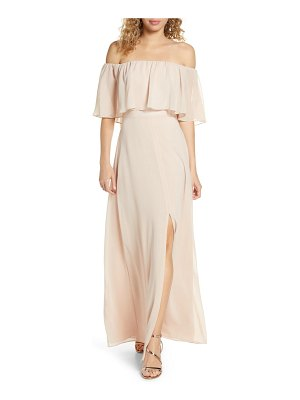 Wayf popover off the shoulder chiffon gown