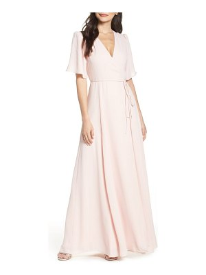 Wayf the aurelia short sleeve wrap evening dress