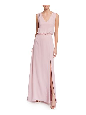 Wayf The Bella V-Neck Sleeveless Gown with Front Slit