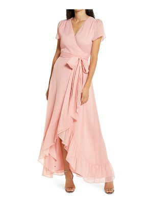 Wayf the natasha metallic chiffon wrap gown