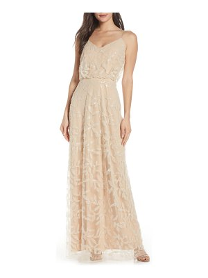 Wayf the savannah blouson beaded mesh evening dress