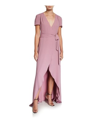 Wayf The Zoey Short-Sleeve High-Low Wrap Dress