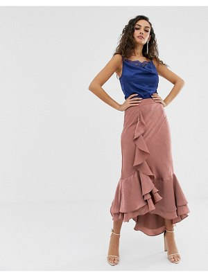 We Are Kindred frenchie bias cut ruffle midi skirt-pink