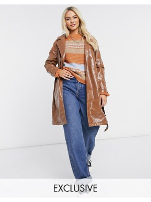 Wednesday's Girl belted trench coat in chocolate vinyl-brown